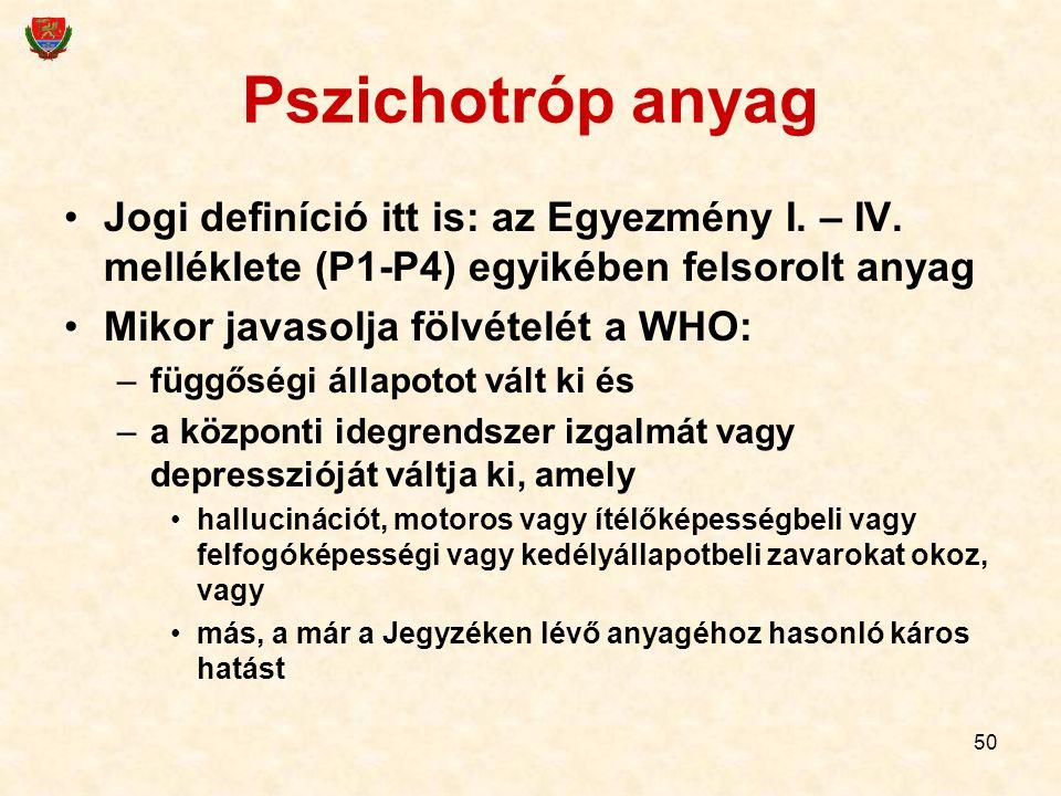 50 Pszichotróp anyag Jogi definíció itt is: az Egyezmény I. – IV. melléklete (P1-P4) egyikében felsorolt anyag Mikor javasolja fölvételét a WHO: –függ
