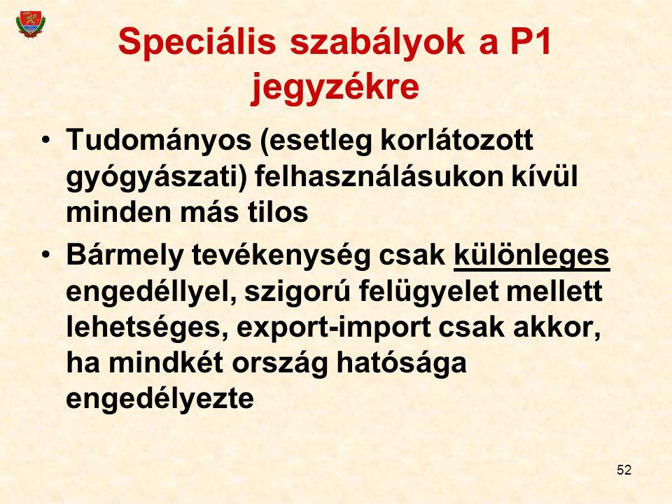 52 Speciális szabályok a P1 jegyzékre Tudományos (esetleg korlátozott gyógyászati) felhasználásukon kívül minden más tilos Bármely tevékenység csak kü