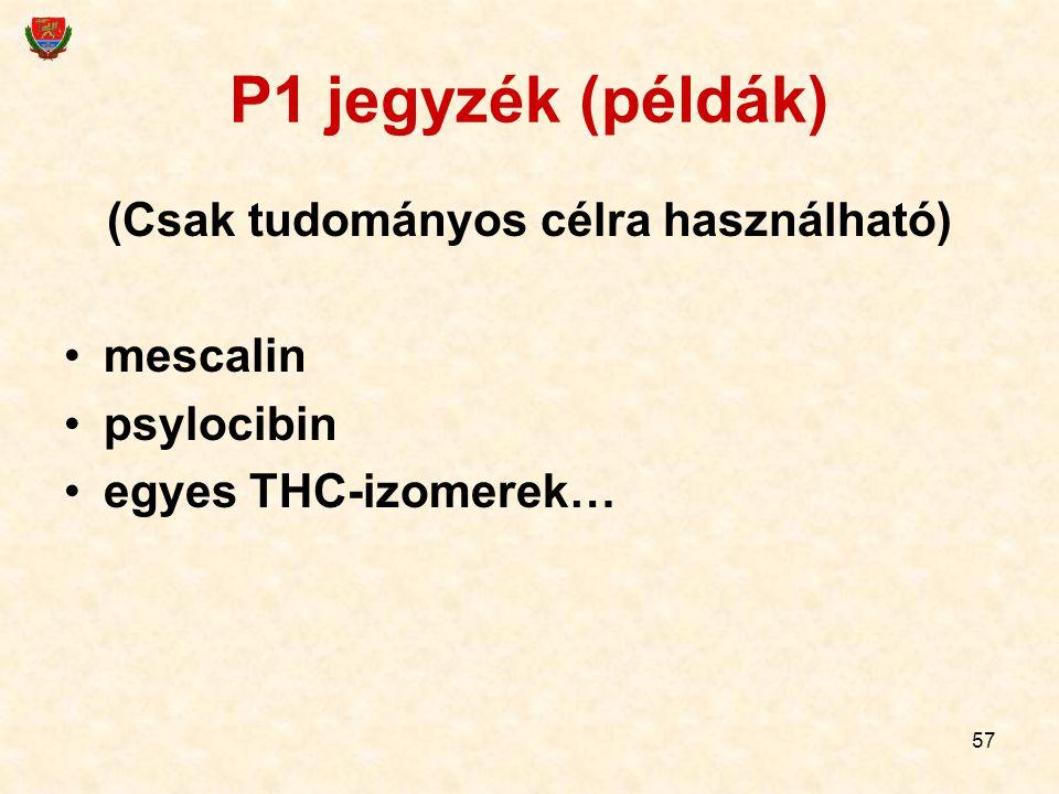 57 P1 jegyzék (példák) (Csak tudományos célra használható) mescalin psylocibin egyes THC-izomerek…