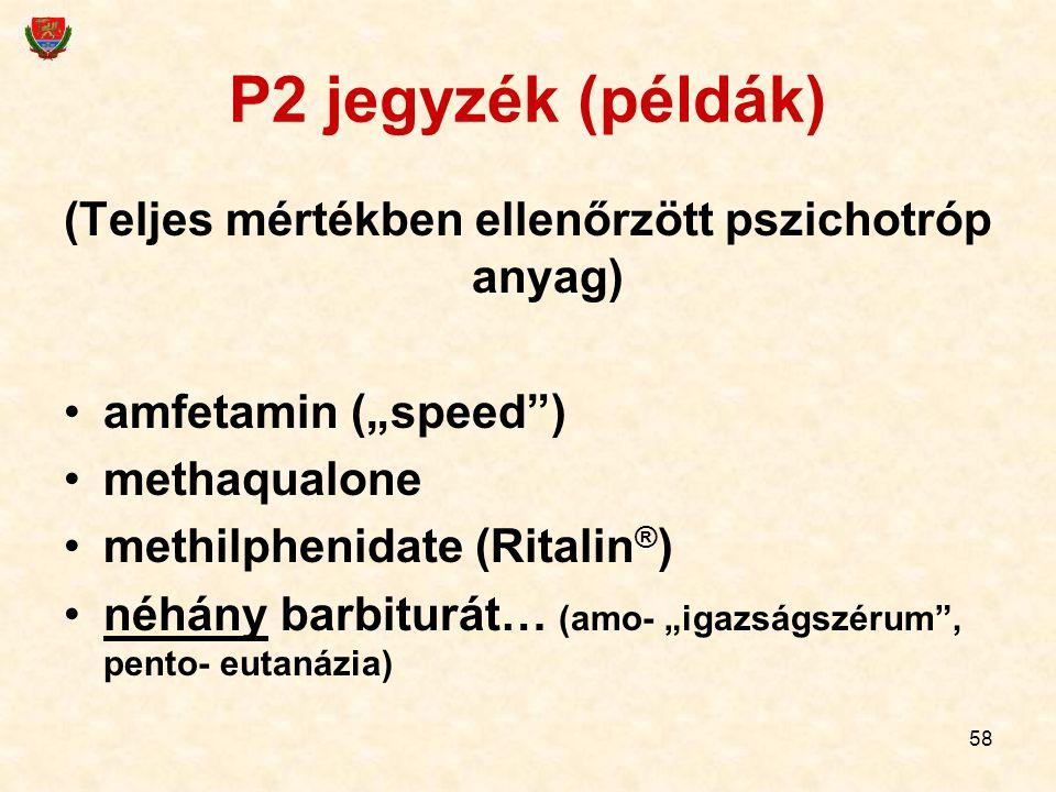 """58 P2 jegyzék (példák) (Teljes mértékben ellenőrzött pszichotróp anyag) amfetamin (""""speed"""") methaqualone methilphenidate (Ritalin ® ) néhány barbiturá"""