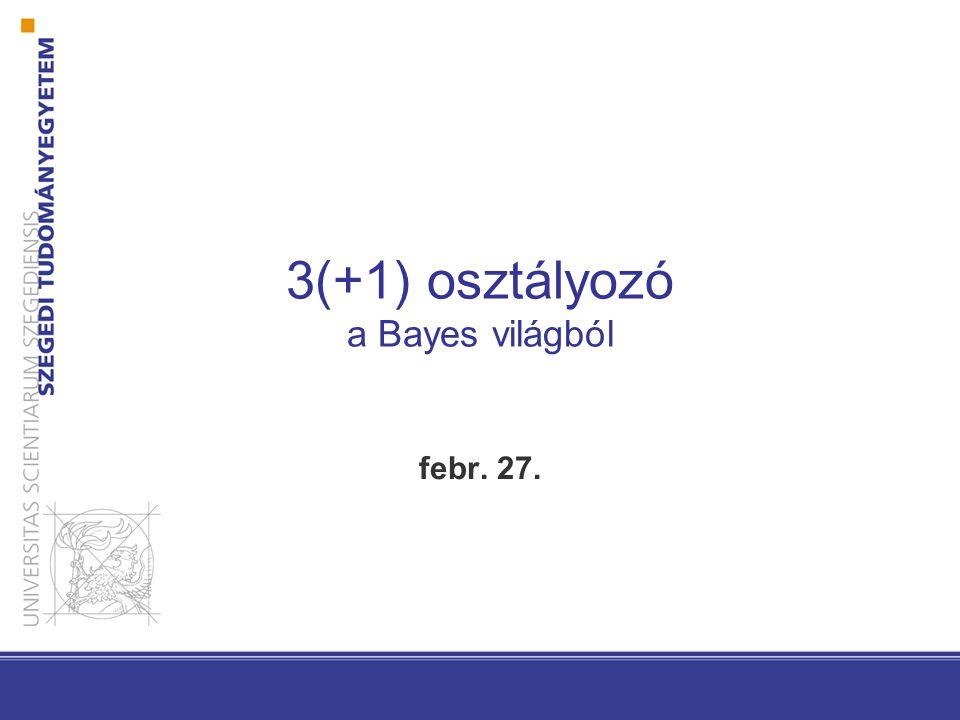 Előző előadás Bayes döntéselmélet Bayes osztályozó P(  j | x) = P(x |  j ) · P (  j ) / P(x) Ha feltesszük, hogy a posterior ismert normális eloszlást követ Paraméterbecslési módszerek ha paraméteres eloszlást feltételezünk és tanító adatbázis rendelkezésre áll