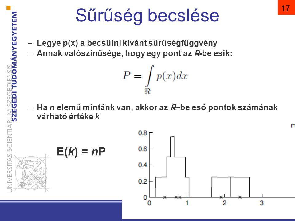 Pattern Classification, Chapter 2 (Part 1) 17 Sűrűség becslése –Legye p(x) a becsülni kívánt sűrűségfüggvény –Annak valószínűsége, hogy egy pont az R-