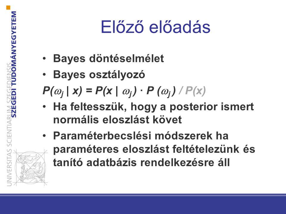 Előző előadás Bayes döntéselmélet Bayes osztályozó P(  j | x) = P(x |  j ) · P (  j ) / P(x) Ha feltesszük, hogy a posterior ismert normális eloszl