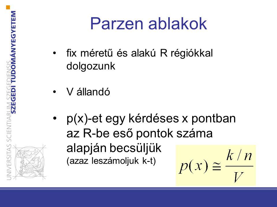 fix méretű és alakú R régiókkal dolgozunk V állandó p(x)-et egy kérdéses x pontban az R-be eső pontok száma alapján becsüljük (azaz leszámoljuk k-t) P