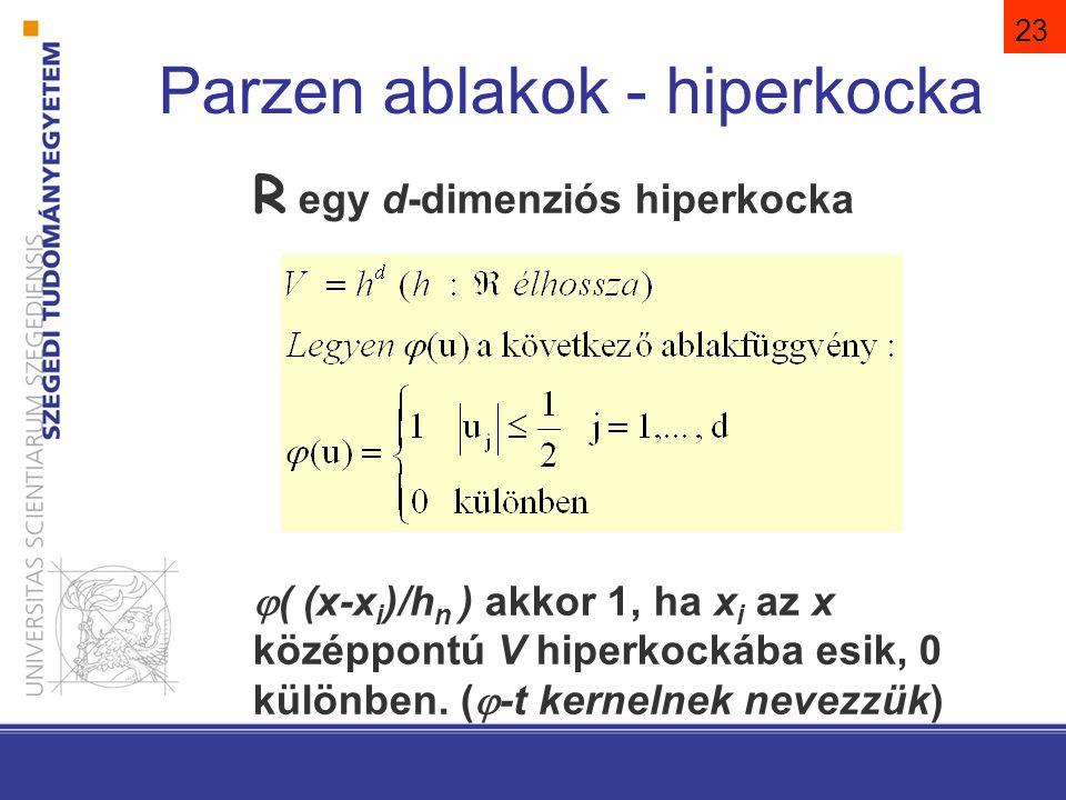 23 Parzen ablakok - hiperkocka R egy d-dimenziós hiperkocka  ( (x-x i )/h n ) akkor 1, ha x i az x középpontú V hiperkockába esik, 0 különben. (  -t