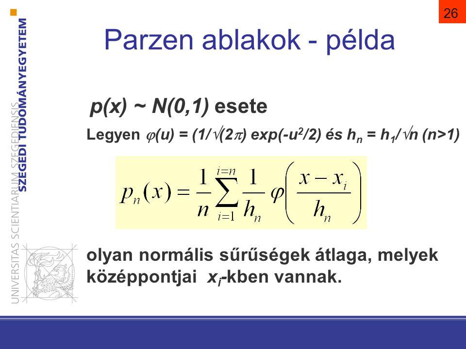 26 p(x) ~ N(0,1) esete Legyen  (u) = (1/  (2  ) exp(-u 2 /2) és h n = h 1 /  n (n>1) olyan normális sűrűségek átlaga, melyek középpontjai x i -kbe