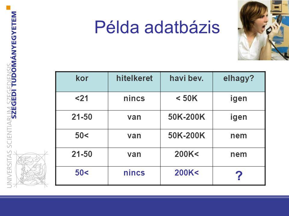 Példa adatbázis korhitelkerethavi bev.elhagy? <21nincs< 50Kigen 21-50van50K-200Kigen 50<van50K-200Knem 21-50van200K<nem 50<nincs200K< ?