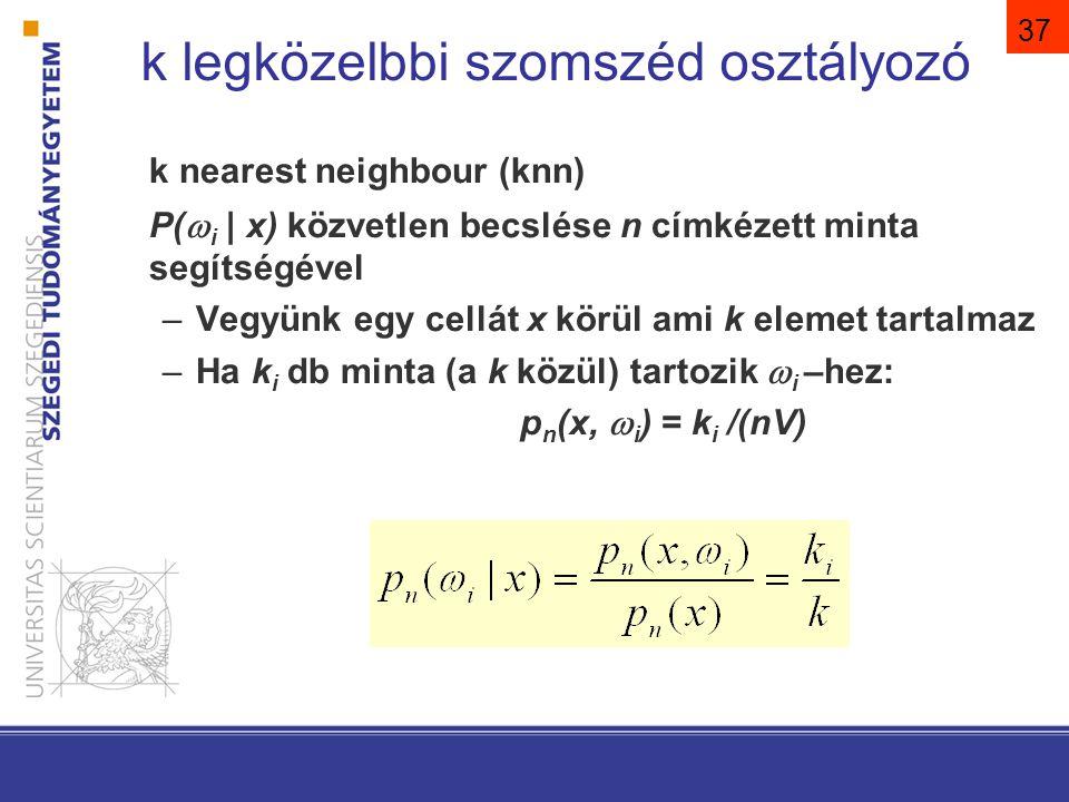 37 k nearest neighbour (knn) P(  i | x) közvetlen becslése n címkézett minta segítségével –Vegyünk egy cellát x körül ami k elemet tartalmaz –Ha k i