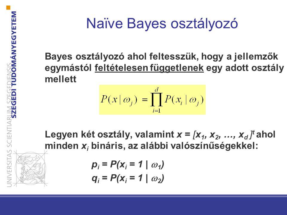 Bayes osztályozó ahol feltesszük, hogy a jellemzők egymástól feltételesen függetlenek egy adott osztály mellett Legyen két osztály, valamint x = [x 1,