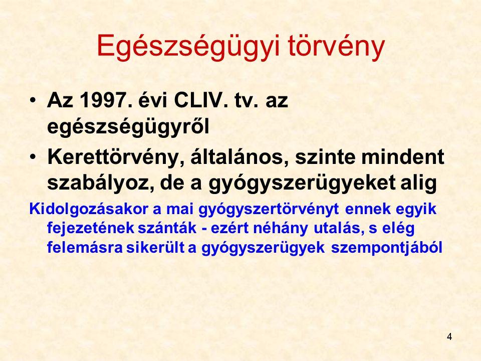44 Egészségügyi törvény Az 1997.évi CLIV. tv.