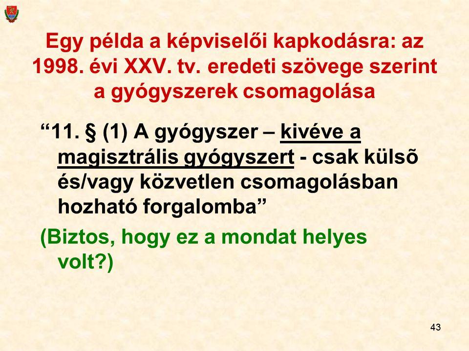 43 Egy példa a képviselői kapkodásra: az 1998.évi XXV.