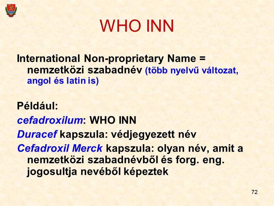 72 WHO INN International Non-proprietary Name = nemzetközi szabadnév (több nyelvű változat, angol és latin is) Például: cefadroxilum: WHO INN Duracef kapszula: védjegyezett név Cefadroxil Merck kapszula: olyan név, amit a nemzetközi szabadnévből és forg.