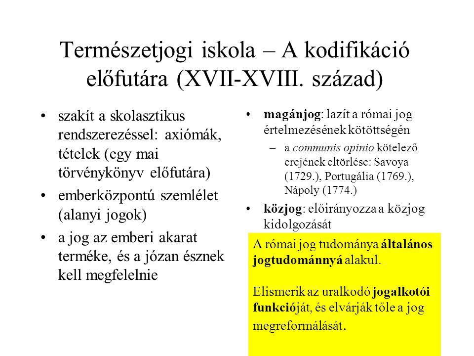 Természetjogi iskola – A kodifikáció előfutára (XVII-XVIII. század) szakít a skolasztikus rendszerezéssel: axiómák, tételek (egy mai törvénykönyv előf