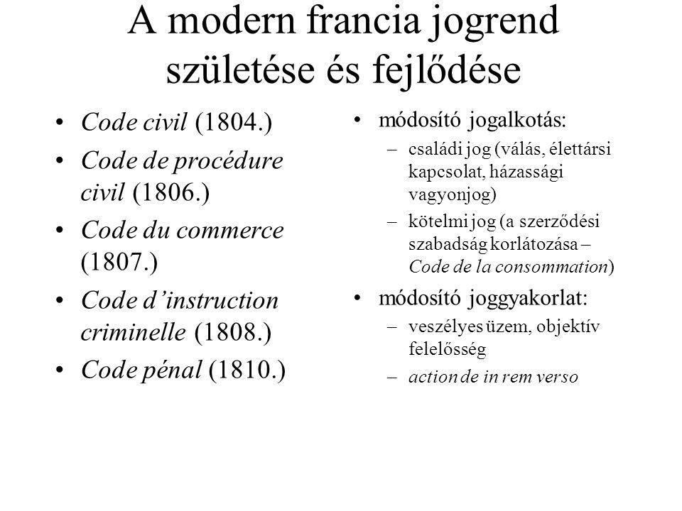 A modern francia jogrend születése és fejlődése Code civil (1804.) Code de procédure civil (1806.) Code du commerce (1807.) Code d'instruction crimine