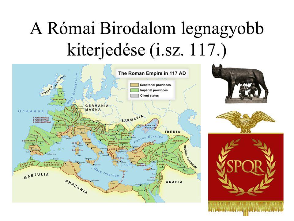 A Római Birodalom legnagyobb kiterjedése (i.sz. 117.)
