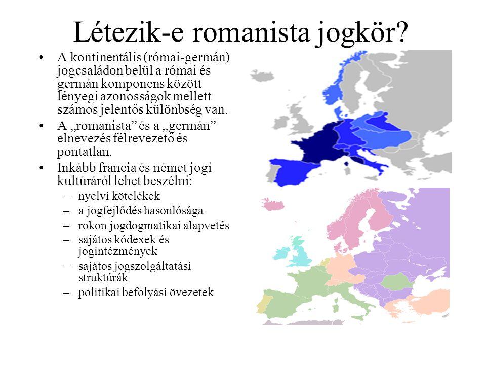 Létezik-e romanista jogkör? A kontinentális (római-germán) jogcsaládon belül a római és germán komponens között lényegi azonosságok mellett számos jel