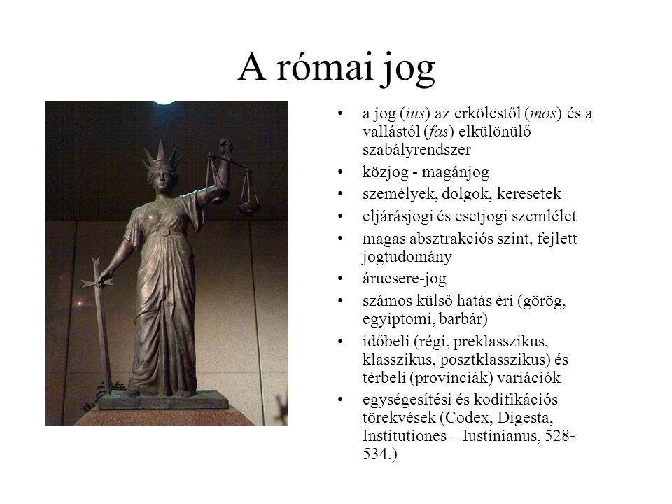 A római jog a jog (ius) az erkölcstől (mos) és a vallástól (fas) elkülönülő szabályrendszer közjog - magánjog személyek, dolgok, keresetek eljárásjogi