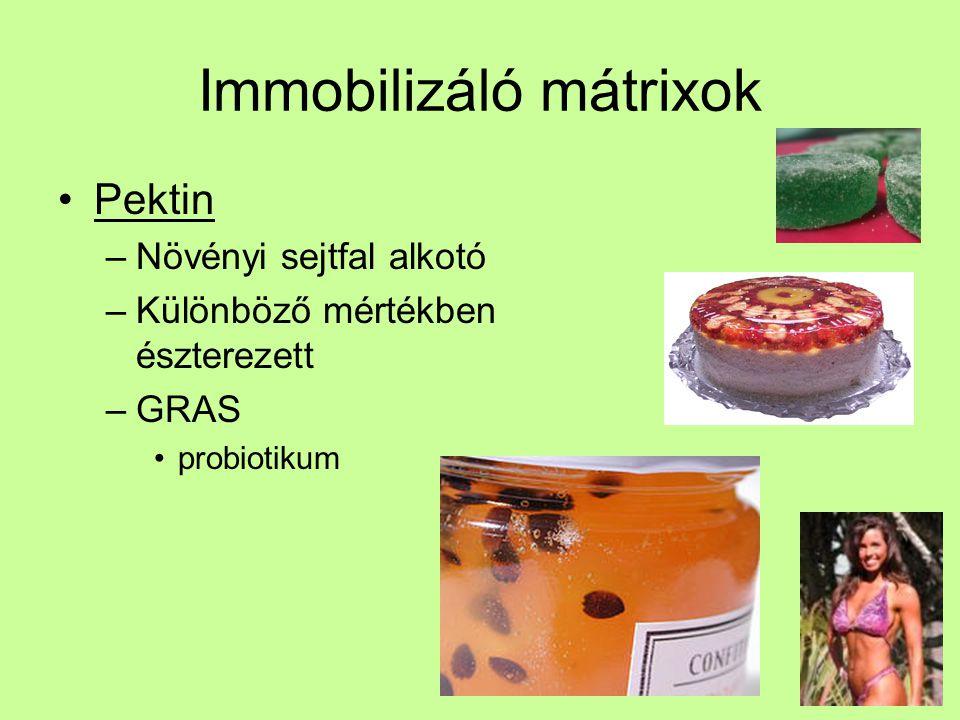 Immobilizáló mátrixok Pektin –Növényi sejtfal alkotó –Különböző mértékben észterezett –GRAS probiotikum