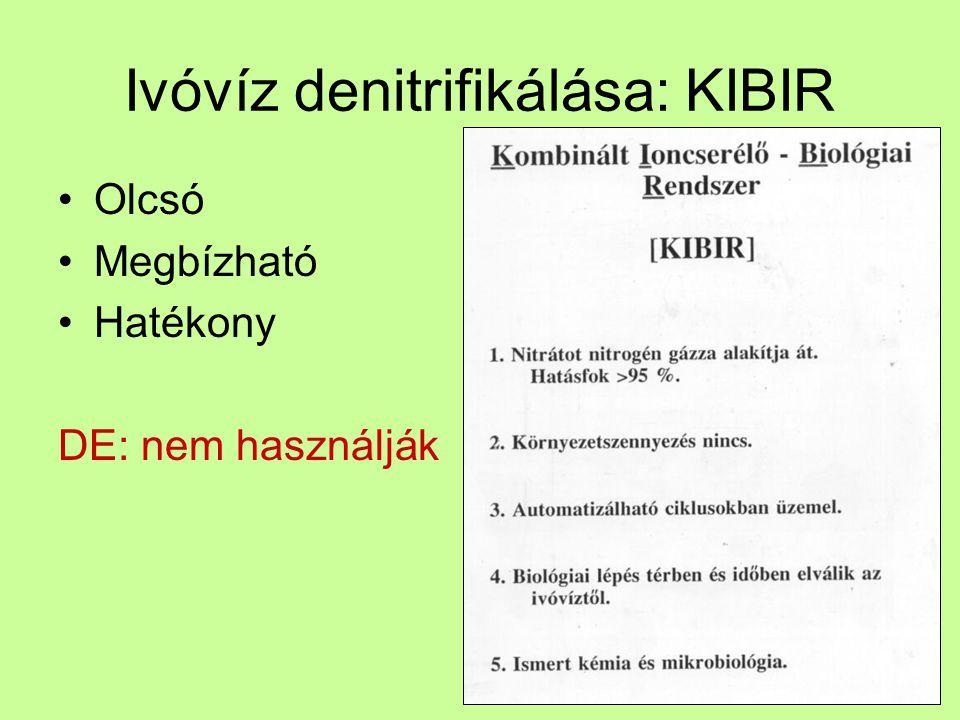 Ivóvíz denitrifikálása: KIBIR Olcsó Megbízható Hatékony DE: nem használják