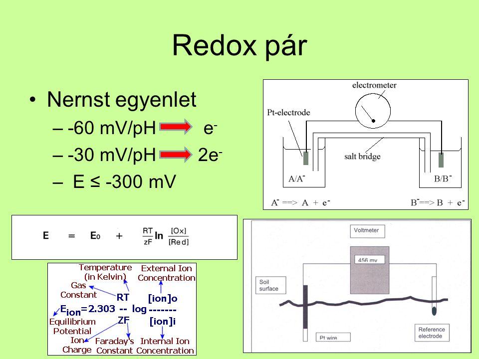Redox pár Nernst egyenlet –-60 mV/pH e - –-30 mV/pH 2e - – E ≤ -300 mV