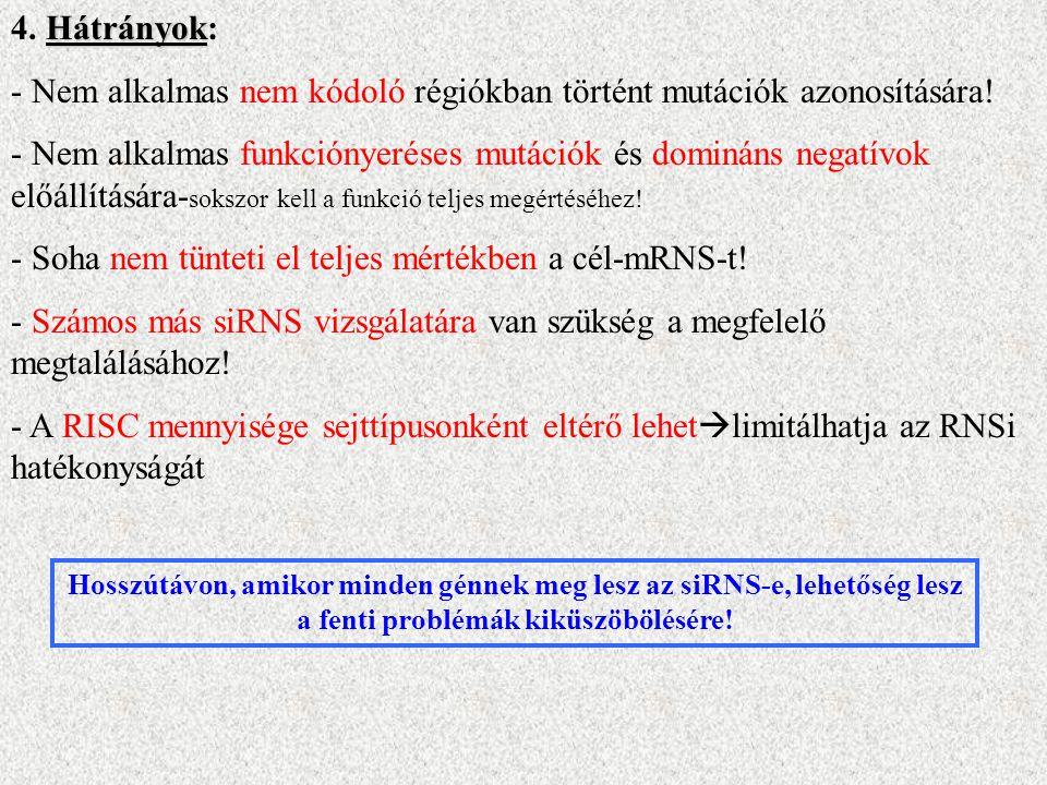 Hátrányok 4. Hátrányok: - Nem alkalmas nem kódoló régiókban történt mutációk azonosítására.
