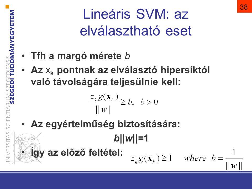 39 Lineáris SVM: az elválasztható eset A szegély maximalizálása: