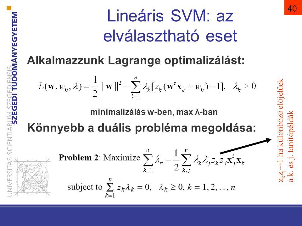 41 Lineáris SVM: az elválasztható eset A megoldás a következő alakú: Megmutatható, hogy ha x k nem támasztóvektor, akkor λ k =0.