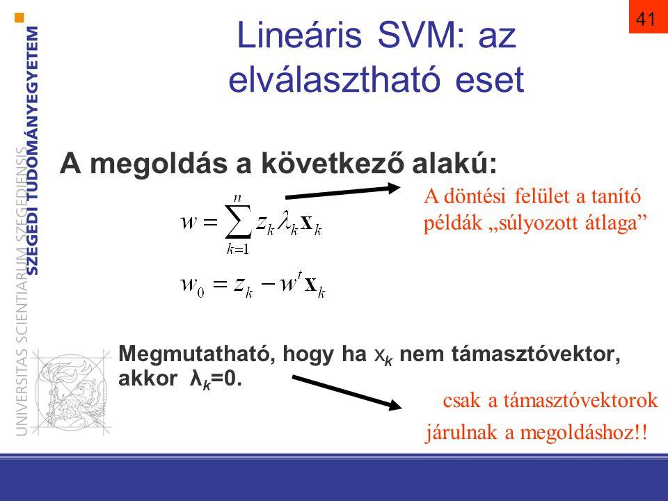 SVM lineárisan nem elválasztható eset