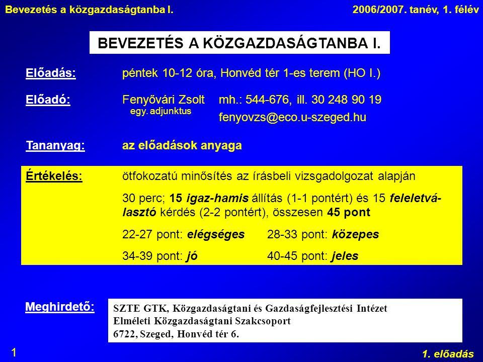 Bevezetés a közgazdaságtanba I.2006/2007. tanév, 1. félév 1. előadás 1 BEVEZETÉS A KÖZGAZDASÁGTANBA I. Előadás: péntek 10-12 óra, Honvéd tér 1-es tere