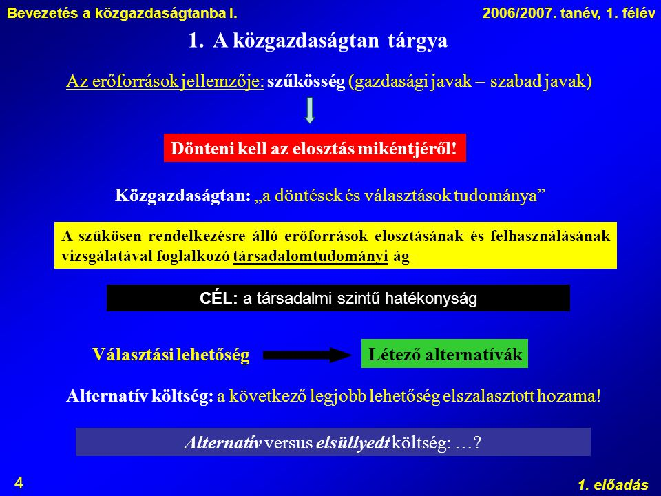 Bevezetés a közgazdaságtanba I.2006/2007. tanév, 1. félév 1. előadás 4 1.A közgazdaságtan tárgya Az erőforrások jellemzője: szűkösség (gazdasági javak