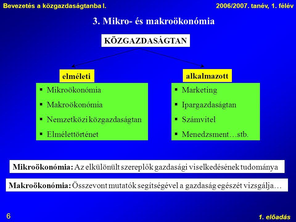 Bevezetés a közgazdaságtanba I.2006/2007. tanév, 1. félév 1. előadás 6 3. Mikro- és makroökonómia KÖZGAZDASÁGTAN elméleti alkalmazott  Mikroökonómia