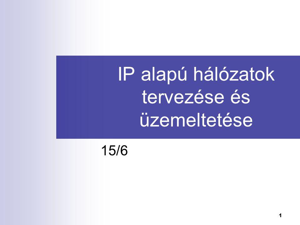 IP alapú hálózatok tervezése és üzemeltetése I.2 Az előző előadás tartalma Csomagkapcsolt átvitel.