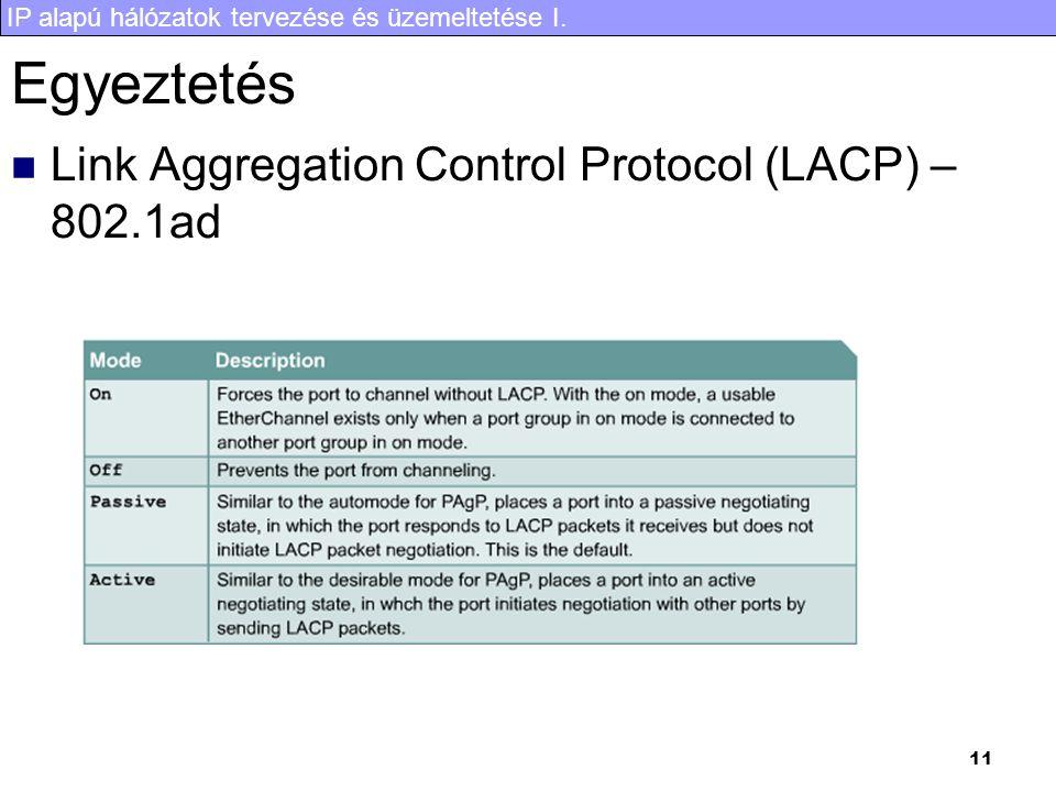 IP alapú hálózatok tervezése és üzemeltetése I. 11 Egyeztetés Link Aggregation Control Protocol (LACP) – 802.1ad