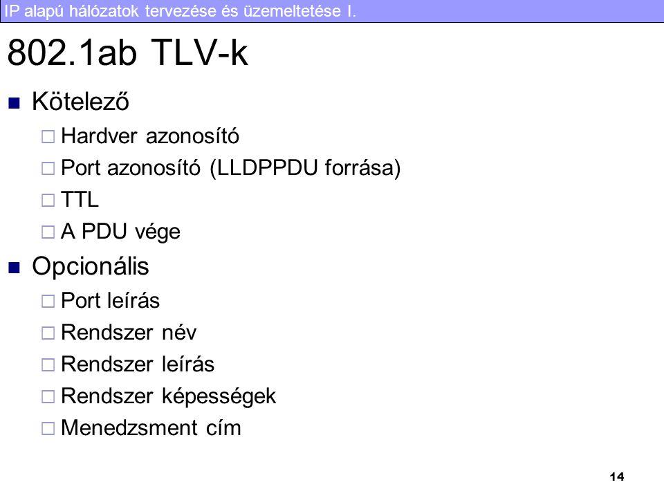 IP alapú hálózatok tervezése és üzemeltetése I. 14 802.1ab TLV-k Kötelező  Hardver azonosító  Port azonosító (LLDPPDU forrása)  TTL  A PDU vége Op