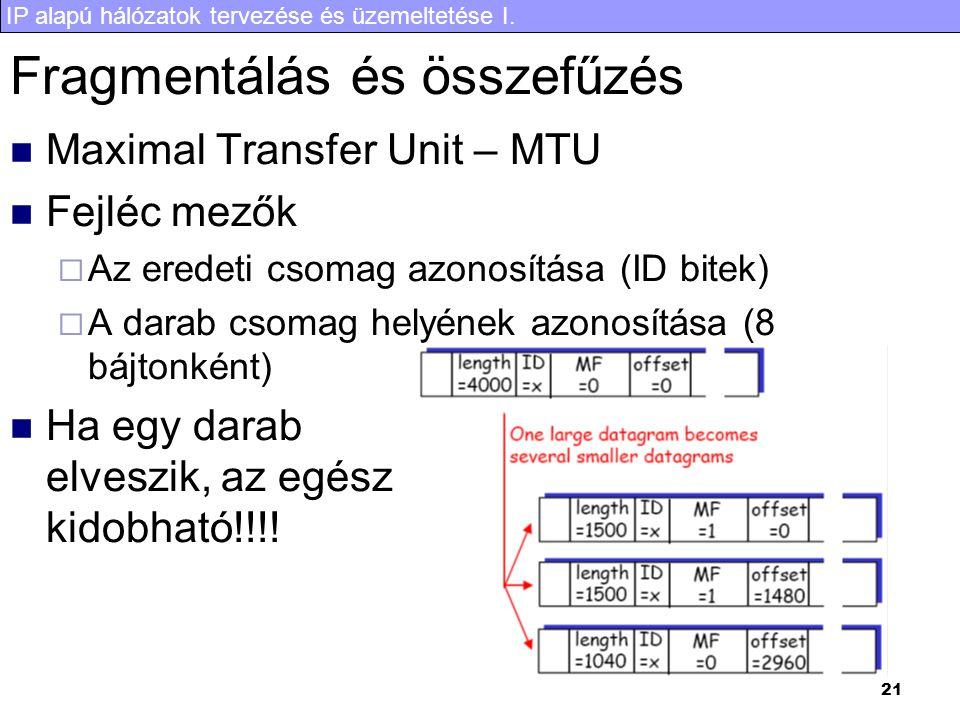 IP alapú hálózatok tervezése és üzemeltetése I. 21 Fragmentálás és összefűzés Maximal Transfer Unit – MTU Fejléc mezők  Az eredeti csomag azonosítása