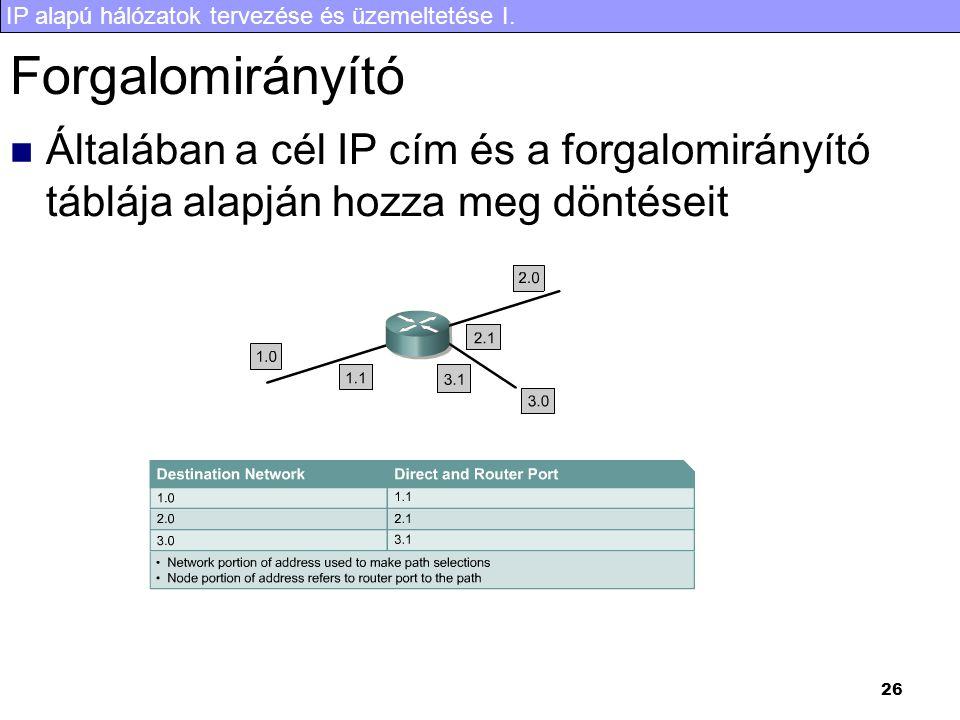 IP alapú hálózatok tervezése és üzemeltetése I. 26 Forgalomirányító Általában a cél IP cím és a forgalomirányító táblája alapján hozza meg döntéseit