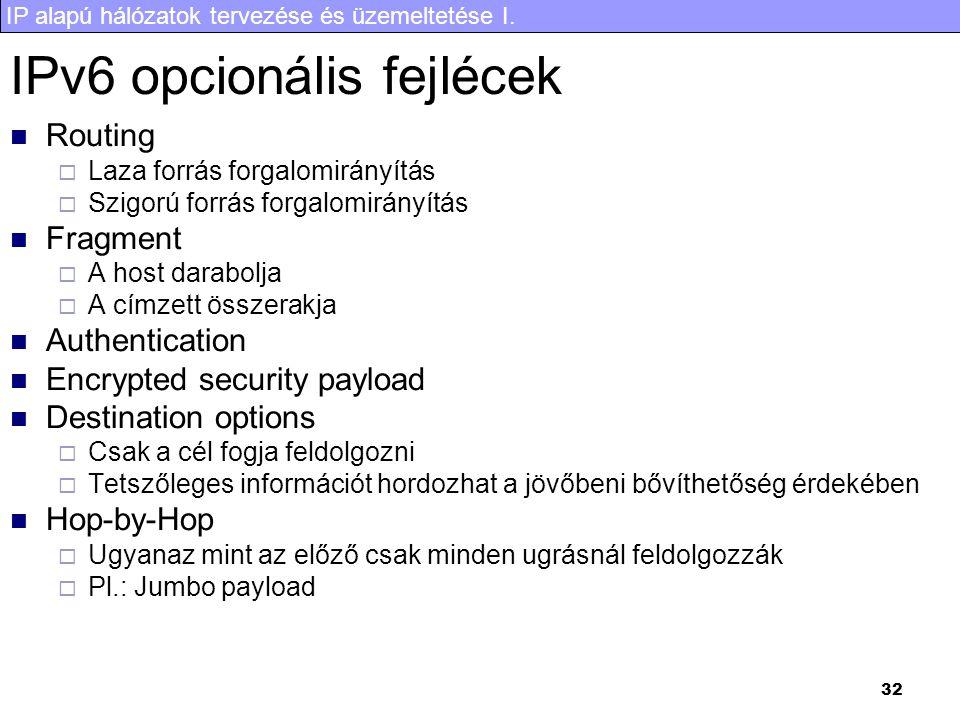 IP alapú hálózatok tervezése és üzemeltetése I. 32 IPv6 opcionális fejlécek Routing  Laza forrás forgalomirányítás  Szigorú forrás forgalomirányítás