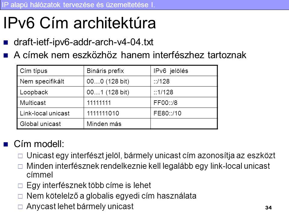 IP alapú hálózatok tervezése és üzemeltetése I. 34 IPv6 Cím architektúra draft-ietf-ipv6-addr-arch-v4-04.txt A címek nem eszközhöz hanem interfészhez