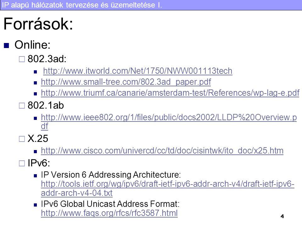 IP alapú hálózatok tervezése és üzemeltetése I. 4 Források: Online:  802.3ad: http://www.itworld.com/Net/1750/NWW001113tech http://www.small-tree.com