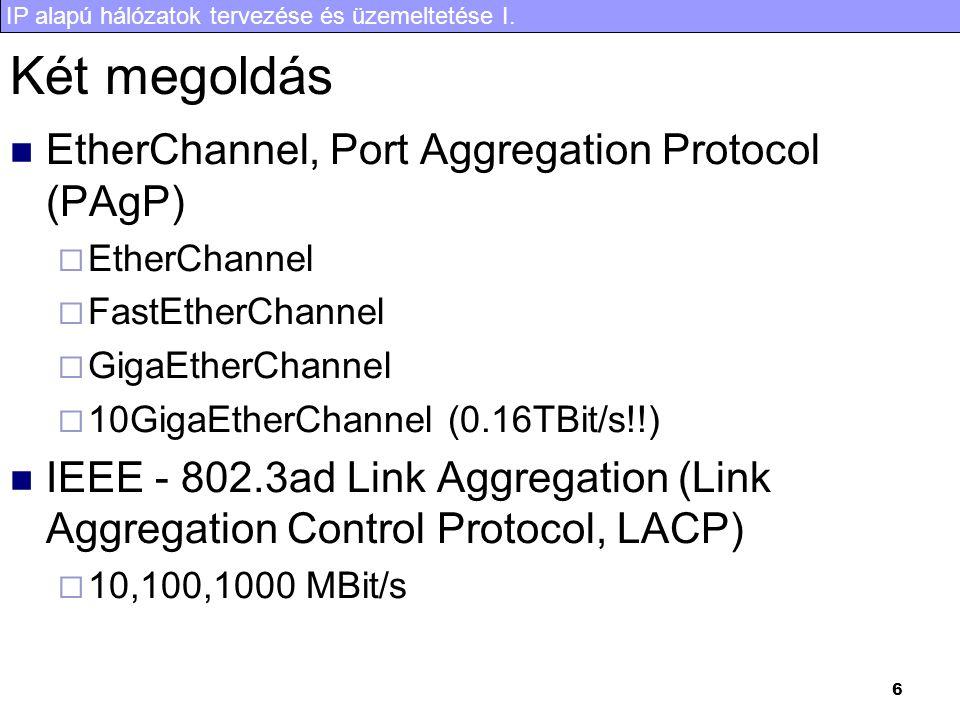 IP alapú hálózatok tervezése és üzemeltetése I. 6 Két megoldás EtherChannel, Port Aggregation Protocol (PAgP)  EtherChannel  FastEtherChannel  Giga