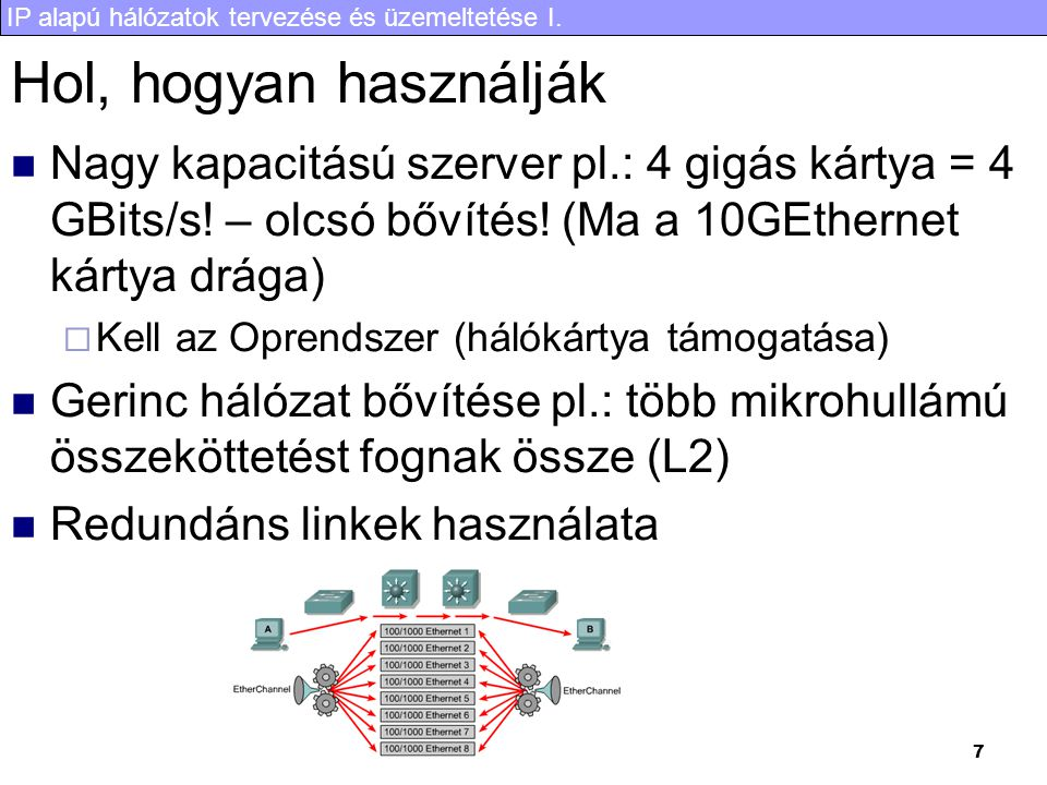 IP alapú hálózatok tervezése és üzemeltetése I. 7 Hol, hogyan használják Nagy kapacitású szerver pl.: 4 gigás kártya = 4 GBits/s! – olcsó bővítés! (Ma