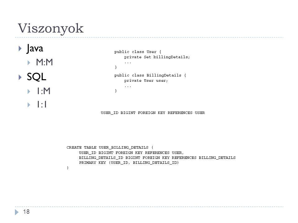 Viszonyok  Java  M:M  SQL  1:M  1:1 18