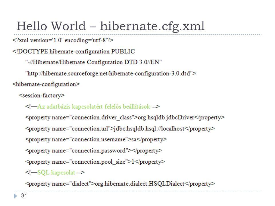 Hello World – hibernate.cfg.xml 31