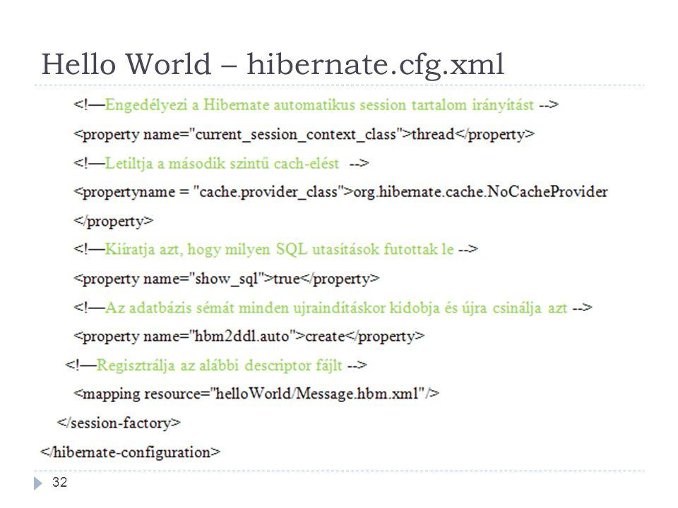 Hello World – hibernate.cfg.xml 32
