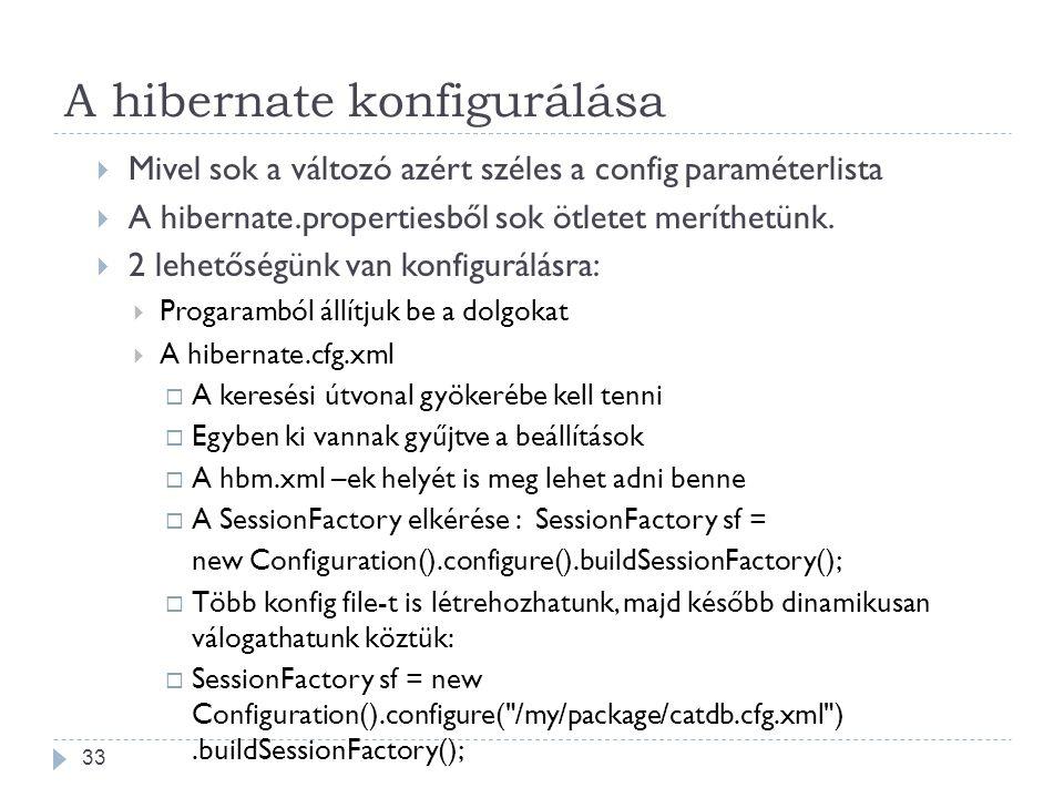 A hibernate konfigurálása  Mivel sok a változó azért széles a config paraméterlista  A hibernate.propertiesből sok ötletet meríthetünk.  2 lehetősé