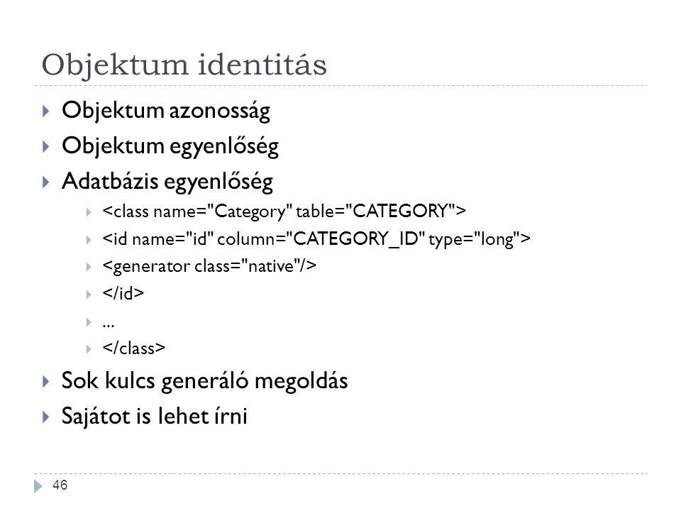 Objektum identitás  Objektum azonosság  Objektum egyenlőség  Adatbázis egyenlőség  ...