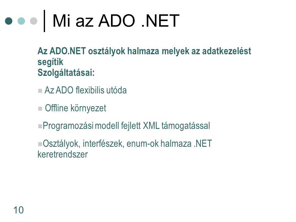 10 Az ADO.NET osztályok halmaza melyek az adatkezelést segítik Szolgáltatásai: Az ADO flexibilis utóda Offline környezet Programozási modell fejlett XML támogatással Osztályok, interfészek, enum-ok halmaza.NET keretrendszer Mi az ADO.NET