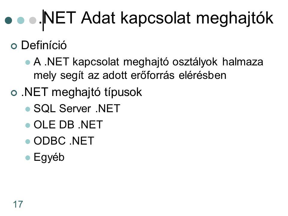 17.NET Adat kapcsolat meghajtók Definíció A.NET kapcsolat meghajtó osztályok halmaza mely segít az adott erőforrás elérésben.NET meghajtó típusok SQL Server.NET OLE DB.NET ODBC.NET Egyéb