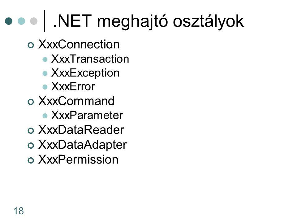 18.NET meghajtó osztályok XxxConnection XxxTransaction XxxException XxxError XxxCommand XxxParameter XxxDataReader XxxDataAdapter XxxPermission