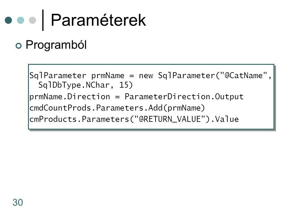 30 Paraméterek Programból SqlParameter prmName = new SqlParameter(